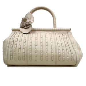 Kenneth Cole - Cream Woven Leather Satchel